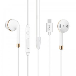 HF Hoco L8 Type-C/Bluetooth White + mic + button call answering + volume control
