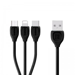 USB Cable Remax (OR) Lesu RC-050th 3in1 iPhone 5/MicroUSB/Type-C Black