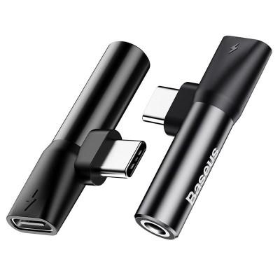 Аудиоадаптер Remax RL-LA03 Type-C Male to 3.5mm+Type-C Female Black