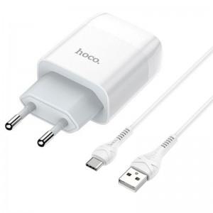СЗУ 1USB Hoco C72A QC 3.0 White + USB Cable Type-C (2.1A)
